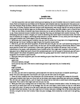 Reading Passage for CCSS RL.6,7,8.1