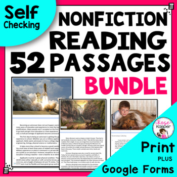 Reading Passages Bundle for 4th Grade and 5th Grade