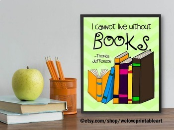 Librarian Gift ~ Thomas Jefferson Quote about Books ~ Lite