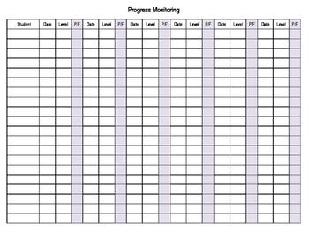 Reading Progress Monitoring Template