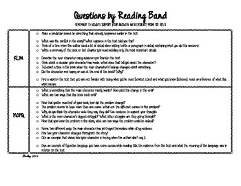 Reading Questions by Text Complexity Band