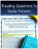 Reading Questions for Parents Hooray! {Great for Open Hous