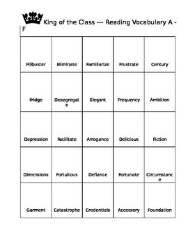 Reading Recogntion and Defintion Game A - G