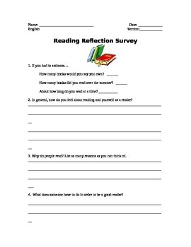 Reading Reflection Survey / Student Reading Inventory