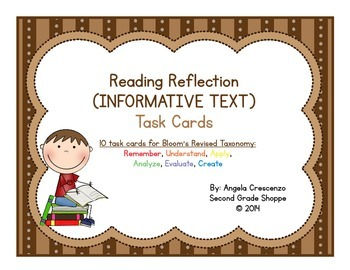 Reading Reflection Task Cards Bloom's Revised Taxonomy {IN