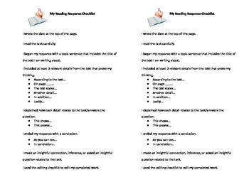 Reading Response Checklist