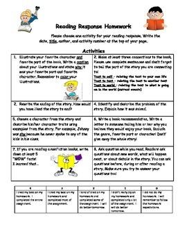 Reading Response Homework and Rubric