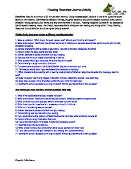 Reading Response Journal Activity