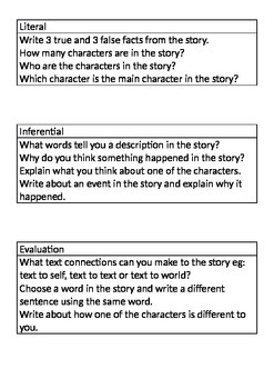 Reading Response - Literal, Inferential and Evaluative questions
