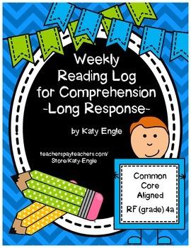 Reading Response Log for Comprehension - Long Response