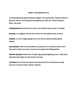 Reading Response Log for a Short Story or Chapter of Novel