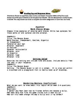 Reading Response Menu Packet