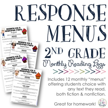 Reading Response Menus Across the Year {2nd Grade CCSS-Aligned}