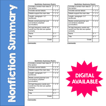 Nonfiction Summary- Reading Response Rubric- CCSS- 4th, 5t