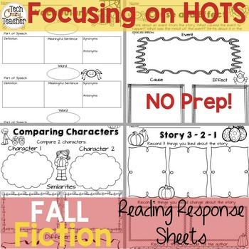 Reading Response Sheets for FICTION (HOTS): Fall Edition No Prep
