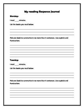 Reading Response Sheets....Reading Log