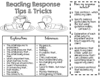 Reading Responses Tips and Tricks