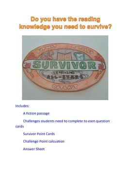 Reading Activity Review Game (Fiction)- Survivor / Minute
