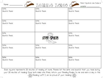 Reading Rodeo - Home Reading Log