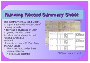 Individual Running Record Summary Sheet