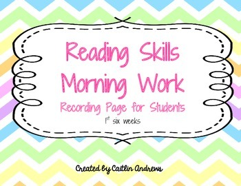 Reading Skills Morning Work-Recording Page for students