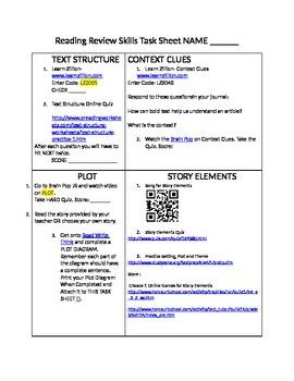 Reading Skills Task Sheet- Plot, Context Clues, Text Struc