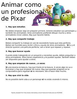 Reading: Spanish 1 • Animation themed