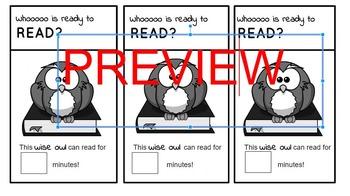 Reading Stamina Book Mark: Whoooo is Ready to Read? Owl Themed