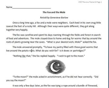 Reading Standardized Test Review - The Fox and the Mole