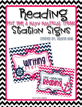 Reading Station Signs: Pink & Navy Nautical Theme