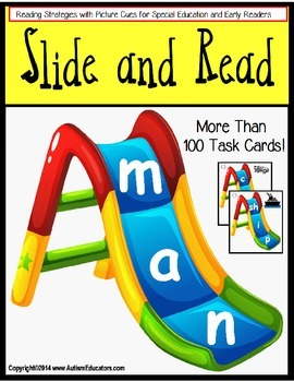 Reading Strategies: 100 Slide and Read Word Cards - Autism