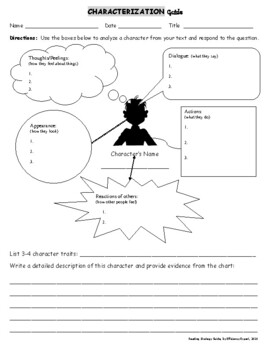 All Worksheets » Characterization Worksheet - Free Printable ...