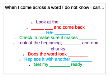 Reading Strategies - Decoding Strategies Poster Work Sheet