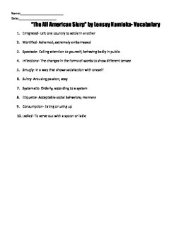 """The All American Slurp"" by Lensey Namioka Reading Strateg"