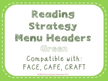 Reading Strategies Menu {Green}