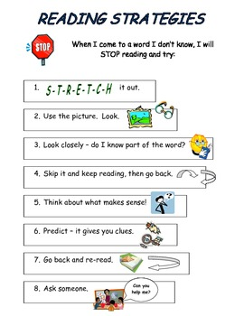 Reading Strategies Picture Chart