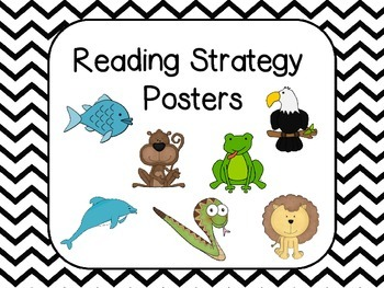 Reading Strategies Posters -Black and White Chevron