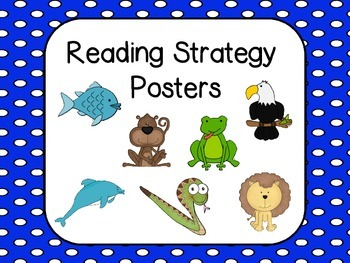 Reading Strategies Posters - (Blue with White polka dots b