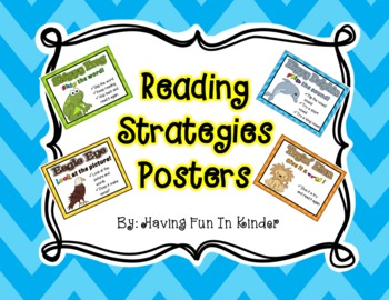 Reading Strategies Posters {Bright Chevron, Polka Dot, or