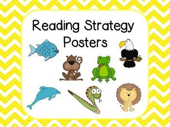 Reading Strategies Posters - Yellow Chevron