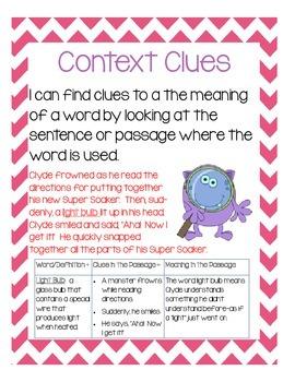 Reading Strategies Posters:main idea context clues, compar