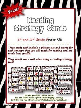 Reading Strategy Cards - 1&2  Grade Zebra