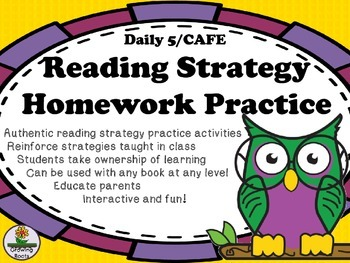 Daily 5/CAFE Reading Strategy Homework