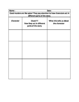 Reading Strategy Independent Work on Characters
