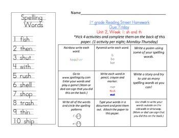 Reading Street 1st grade Spelling Homework UNIT 2