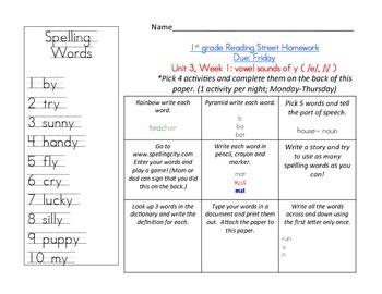 Reading Street 1st grade Spelling Homework UNIT 3