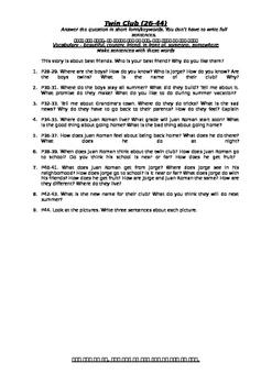 Reading Street 2.1 Twin Club Questions