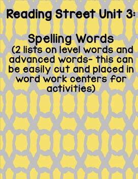Reading Street 2008 First Grade Unit 3 Spelling Words