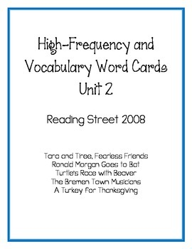 Reading Street 2008 High-Frequency and Vocabulary Word Car