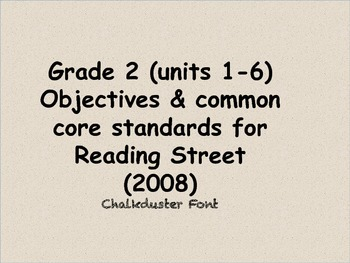 Reading Street 2008 grade 2 objectives & standards (units